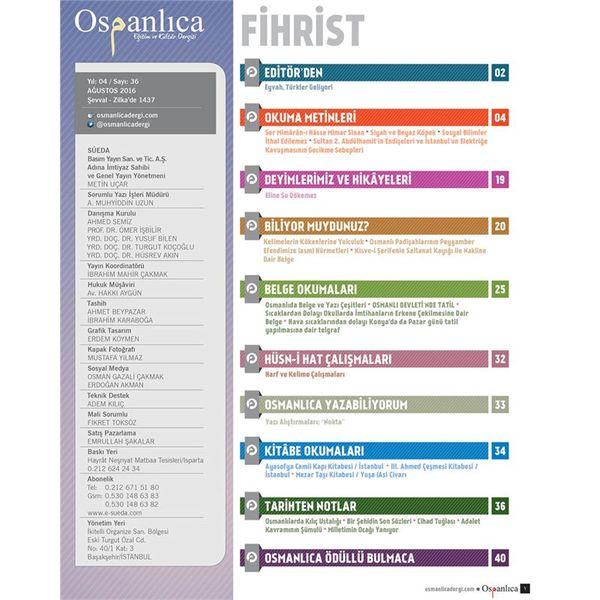 Ağustos 2016 Osmanlıca Dergisi
