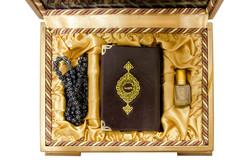 Ahşap Kutulu Kur'an + Tesbih + Esans (0241 - Cep Boy) - Thumbnail