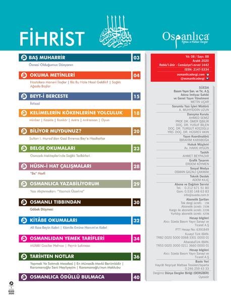 Aralık 2020 Osmanlıca Dergisi