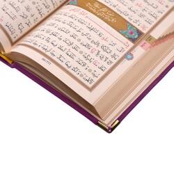 B.Cep Boy Kadife Kur'an-ı Kerim (Lila, Nakışlı, Yaldızlı, Mühürlü) - Thumbnail