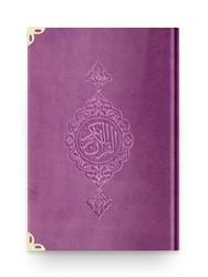 B.Cep Boy Kadife Kur'an-ı Kerim (Lila, Yaldızlı, Mühürlü) - Thumbnail
