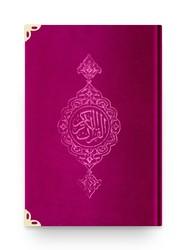 B.Cep Boy Kadife Kur'an-ı Kerim (Pembe, Yaldızlı, Mühürlü) - Thumbnail