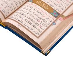 Büyük Cep Boy Kadife Kuran-ı Kerim (Lacivert, Güllü, Mühürlü) - Thumbnail