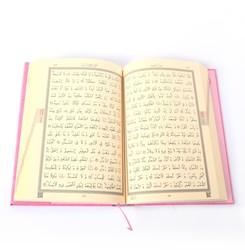 Cami Boy Kur'an-ı Kerim (2 Renkli, Pembe, Mühürlü) - Thumbnail