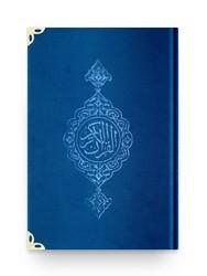 Çanta Boy Kadife Kur'an-ı Kerim (Lacivert, Yaldızlı, Mühürlü) - Thumbnail