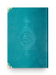 Çanta Boy Kadife Kur'an-ı Kerim (Turkuaz, Yaldızlı, Mühürlü) - Thumbnail