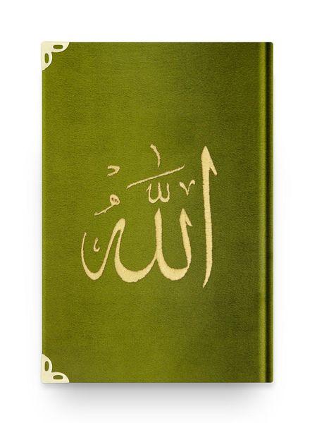 Çanta Boy Kadife Kur'an-ı Kerim (Yeşil, Nakışlı, Yaldızlı, Mühürlü)