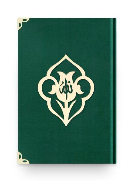 Çanta Boy Kadife Kuran-ı Kerim (Zümrüt Yeşil, Güllü, Mühürlü)