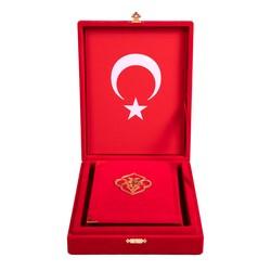 Kadife Kutulu Kur'an-ı Kerim (Çanta Boy, Güllü, Kırmızı) - Thumbnail