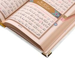 Cep Boy Kadife Kuran-ı Kerim (Beyaz, Elif-Vavlı, Yaldızlı, Mühürlü) - Thumbnail
