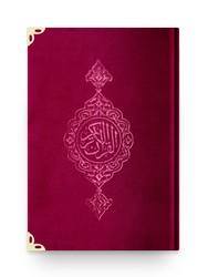 Cep Boy Kadife Kur'an-ı Kerim (Bordo, Yaldızlı, Mühürlü) - Thumbnail