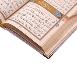 Cep Boy Kadife Kur'an-ı Kerim (Pudra Pembe, Nakışlı, Yaldızlı, Mühürlü) - Thumbnail
