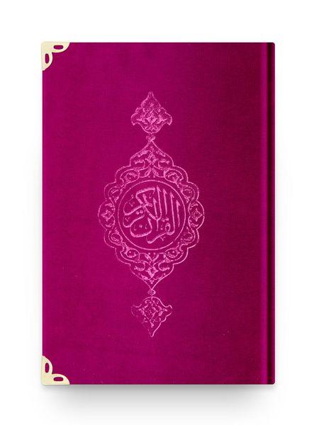 Cep Boy Kadife Kur'an-ı Kerim (Pembe, Yaldızlı, Mühürlü)