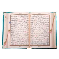 Cep Boy Kadife Kur'an-ı Kerim (Turkuaz, Nakışlı, Yaldızlı, Mühürlü) - Thumbnail