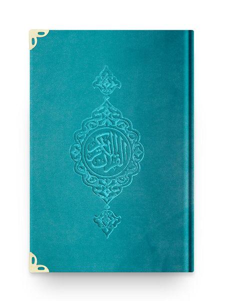 Cep Boy Kadife Kur'an-ı Kerim (Turkuaz, Yaldızlı, Mühürlü)