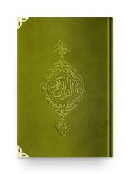 Cep Boy Kadife Kur'an-ı Kerim (Yeşil, Yaldızlı, Mühürlü) - Thumbnail