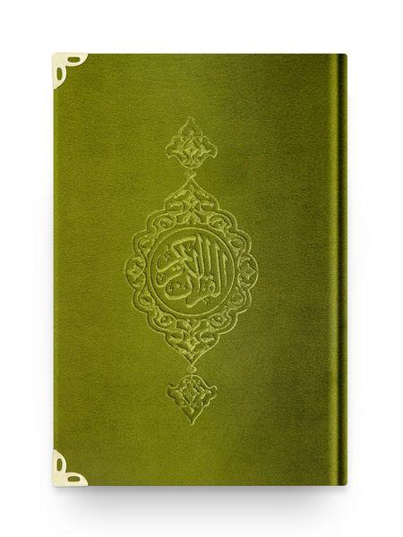 Cep Boy Kadife Kur'an-ı Kerim (Yeşil, Yaldızlı, Mühürlü)
