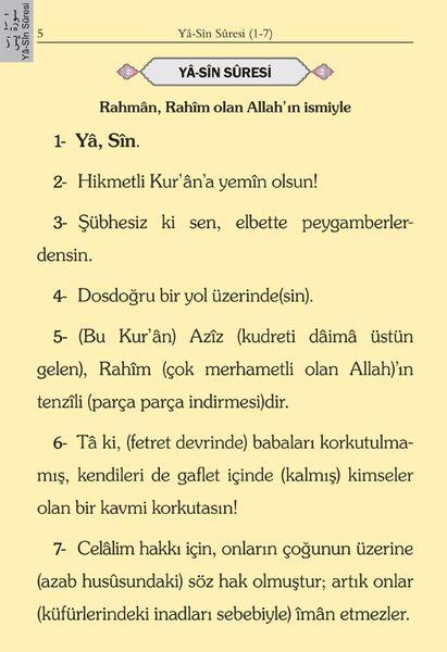 Cep Boy Süet Mealli Yasin Cüzü (Yeşil, Lafzatullah)