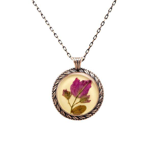 Çiçek Begonvil El İşi Otantik Reçine Kolye Cevşen (1776-1)