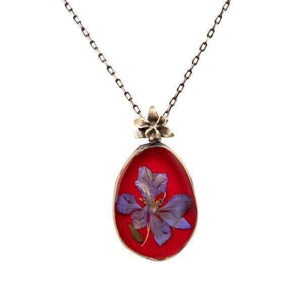 Çiçek Hazeran El İşi Otantik Reçine Kolye Cevşen (1775-1)