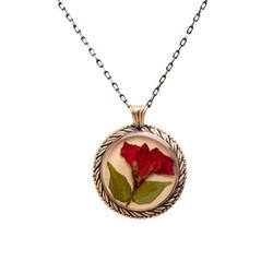 Çiçek Sardunya El İşi Otantik Reçine Kolye Cevşen (1772-1) - Thumbnail