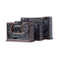 Vav Desenli Siyah Kaplama Gümüş Kur'an-ı Kerim (Çanta Boy) - Thumbnail