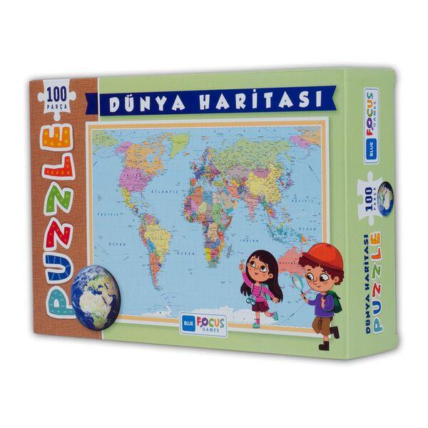 Dünya Haritası 100 Parça Puzzle Kutulu (BF239)
