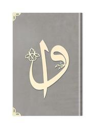 Hafız Boy Kadife Kuran-ı Kerim (Açık Gri, Elif-Vavlı, Yaldızlı, Mühürlü) - Thumbnail