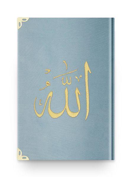 Hafız Boy Kadife Kur'an-ı Kerim (Mavi, Nakışlı, Yaldızlı, Mühürlü)