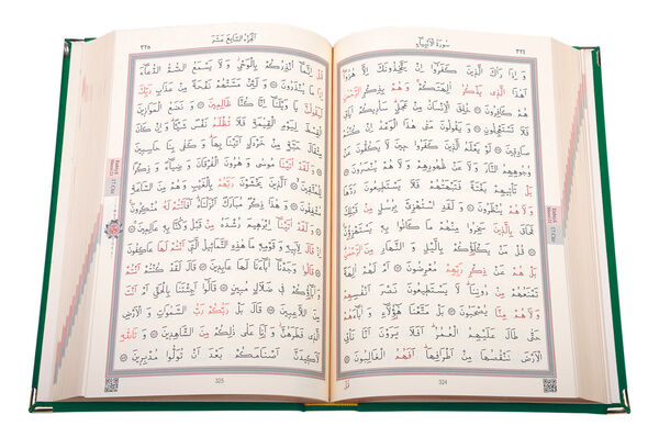 Kadife Kutulu Kur'an-ı Kerim (Hafız Boy, Güllü, Yeşil)