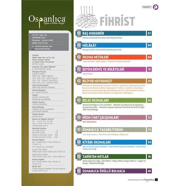 Haziran 2017 Osmanlıca Dergisi