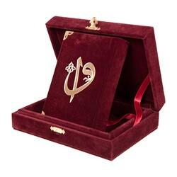 Kadife Kutulu Kur'an-ı Kerim (Büyük Cep Boy, Elif-Vavlı, Bordo) - Thumbnail