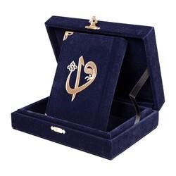 Kadife Kutulu Kur'an-ı Kerim (Büyük Cep Boy, Elif-Vavlı, Lacivert) - Thumbnail