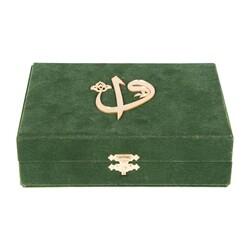 Kadife Kutulu Kur'an-ı Kerim (Büyük Cep Boy, Elif-Vavlı, Yeşil) - Thumbnail