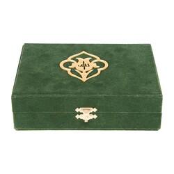 Kadife Kutulu Kur'an-ı Kerim (Büyük Cep Boy, Güllü, Yeşil) - Thumbnail