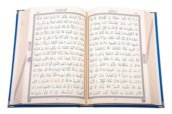 Kadife Kutulu Kur'an-ı Kerim (Cep Boy, Elif-Vavlı, Koyu Mavi)