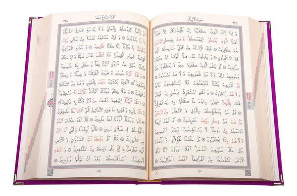 Kadife Kutulu Kur'an-ı Kerim (Cep Boy, Elif-Vavlı, Mor)