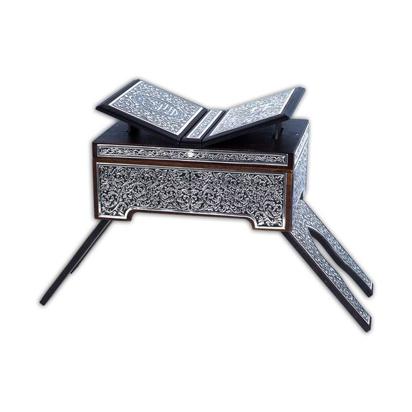 Rahleli Kanat Sandıklı Siyah Kaplama Gümüş Kur'an-ı Kerim (Orta Boy)