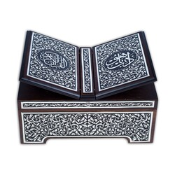 Rahleli Kanat Sandıklı Siyah Kaplama Gümüş Kur'an-ı Kerim (Orta Boy) - Thumbnail