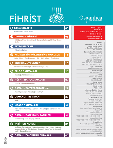 Kasım 2020 Osmanlıca Dergisi