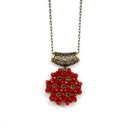 Kırmızı Cevşen Kolye (Kristal, Yuvarlak) - Thumbnail