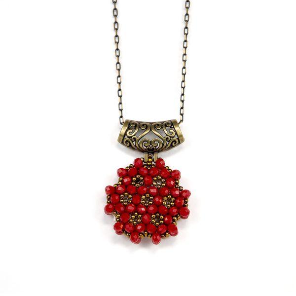 Kırmızı Cevşen Kolye (Kristal, Yuvarlak)