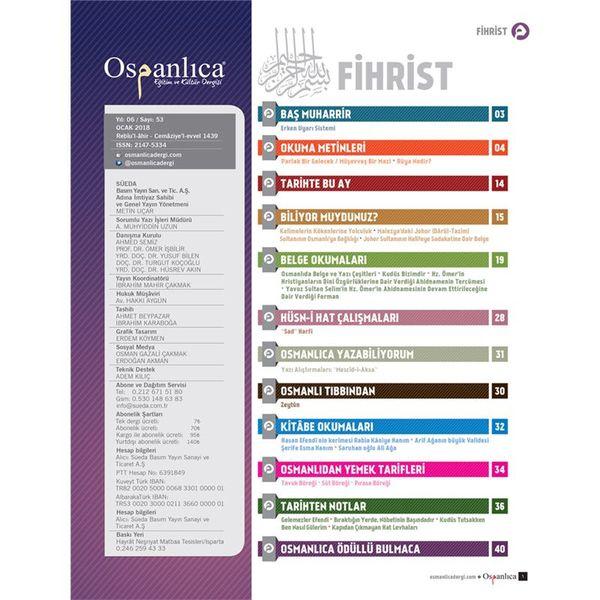 Ocak 2018 Osmanlıca Dergisi