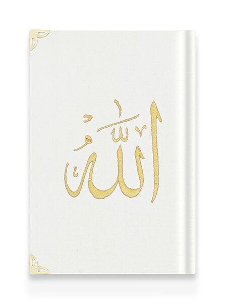 Orta Boy Kadife Kur'an-ı Kerim (Beyaz, Nakışlı, Yaldızlı, Mühürlü)