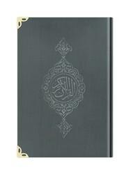 Orta Boy Kadife Kur'an-ı Kerim (Koyu Gri, Yaldızlı, Mühürlü) - Thumbnail
