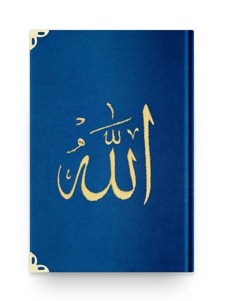 Orta Boy Kadife Kur'an-ı Kerim (Lacivert, Nakışlı, Yaldızlı, Mühürlü)