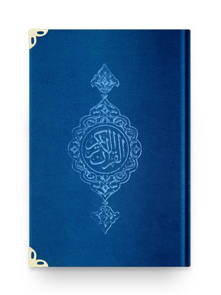 Orta Boy Kadife Kur'an-ı Kerim (Lacivert, Yaldızlı, Mühürlü)