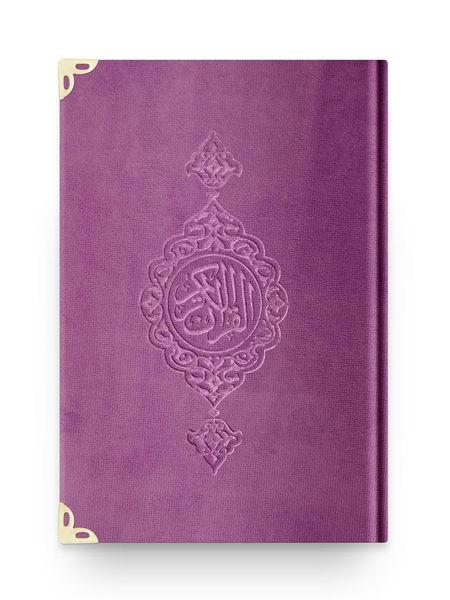 Orta Boy Kadife Kur'an-ı Kerim (Lila, Yaldızlı, Mühürlü)