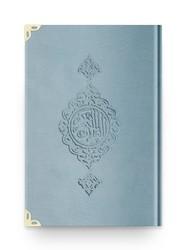 Orta Boy Kadife Kur'an-ı Kerim (Mavi, Yaldızlı, Mühürlü) - Thumbnail