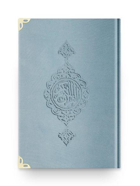 Orta Boy Kadife Kur'an-ı Kerim (Mavi, Yaldızlı, Mühürlü)